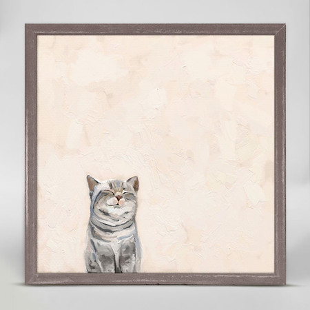 cat on pink mini framed canvas