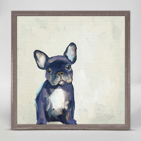 frenchie pup mini framed canvas