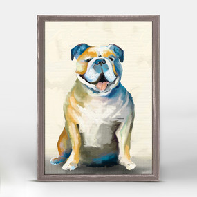 bulldog on cream mini framed canvas