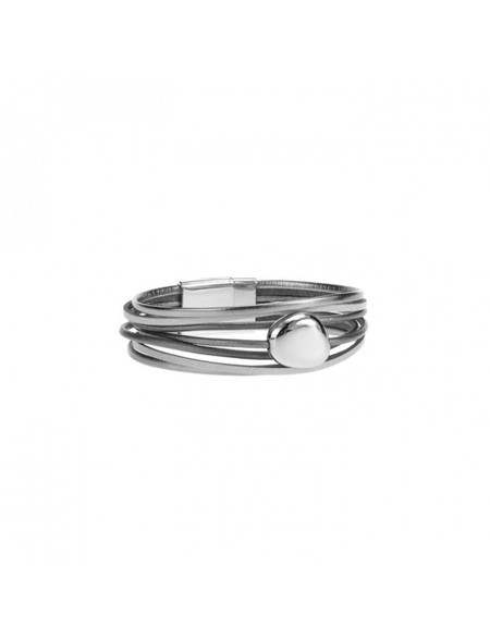 thin layered bracelet with metal grey