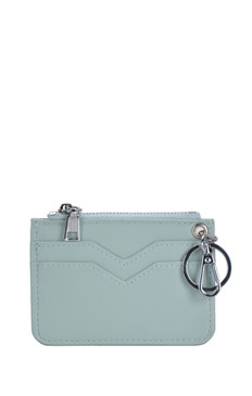 wallet with sleek zipper top and metal ring holder seafoam