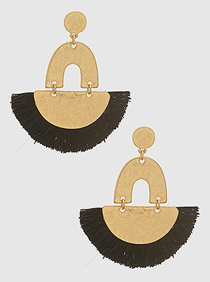 black fan shape tassel earrings