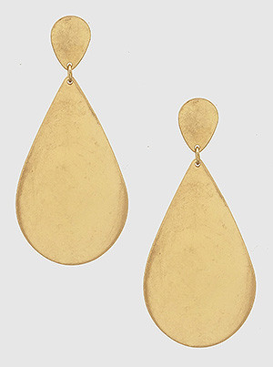 gold double teardrop metal earrings
