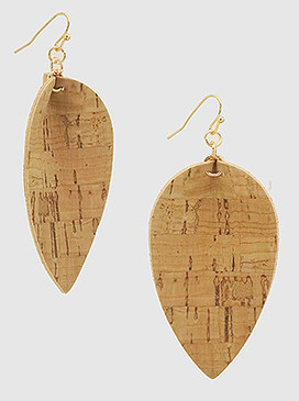 brown pinched petal leatherette earrings