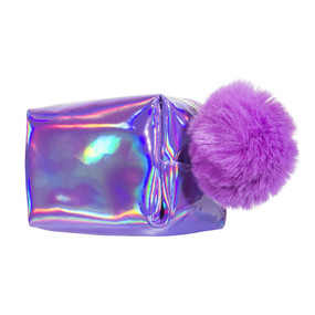 Iridescent hologram lavender mini cosmetic pouch,fur pom pom and zipper pull
