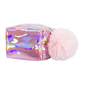 pink mini cosmetic pouch, iridescent hologram with a matching fur pompom zipper pull