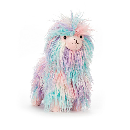 Lovely llama has silky, crimped fur and squidgy hooves