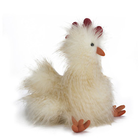 chelsea chicken has  long two-tone fur and a plumey tail, squeezable orange feet and soft scarlet comb