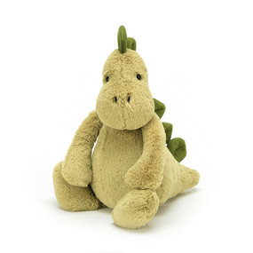 Bashful Dino mossy matey has chunky stomper-feet, a snuggly snout and fine squishy spines from head to tail, t-rex and triceratops