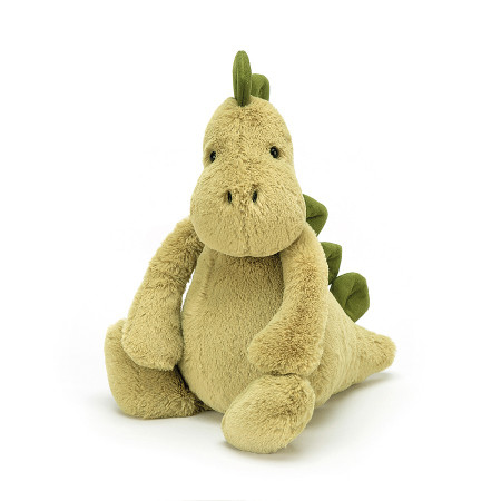 Bashful Dino is soft, mossy matey has chunky stomper-feet, a snuggly snout and fine squishy spines from head to tail, t-rex and triceratops