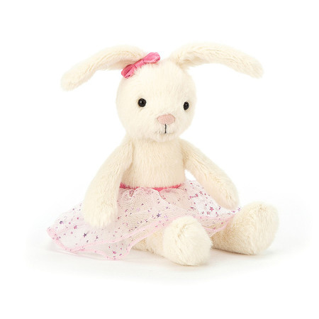 Belle Bunny Ballet is cloudy-cuddly in cream halo fur and starry mesh and satin tutu