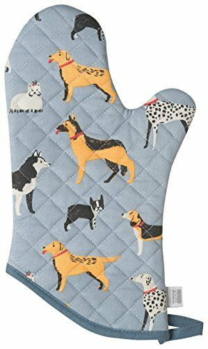 dog days oven mitt, 100 % cotton
