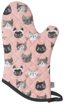 cats meow oven mitt, 100% cotton