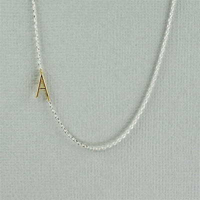 gold initial with sterling silver necklace - A