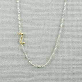 gold initial with sterling silver necklace -  Z