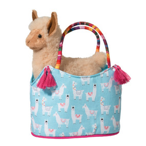 llama in cute little carrying sak that can double as a small purse