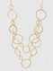 hammered metal hoop necklace 26-30 inch with 3 inch extension, gold