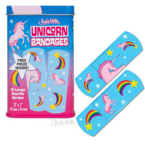 "Enchanted Unicorn bandages each 3-3/4"" (9.5 cm) tall metal tin contains fifteen 3"" x 1"" (7.6 cm x 2.5 cm) latex-free adhesive bandages with sterile gauze"