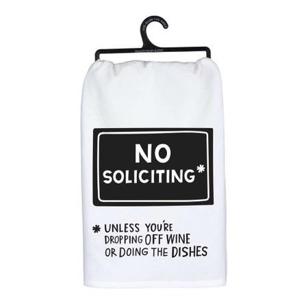 "no soliciting dish towel, 100% cotton, 28"" x 28"""