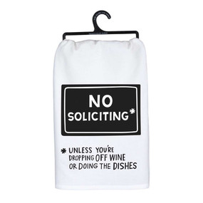 "no soliciting dish towel, 100% cotton, 28"" x 28"""