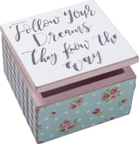 "your dreams know the way hinged box, 4"" x 4"" x 2.75"""