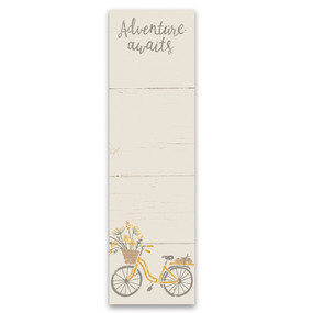 "adventure awaits list notepad, 2.75"" x 9.50"" x 0.25"""