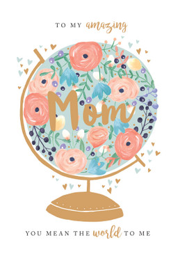 mom globe, mother's day card