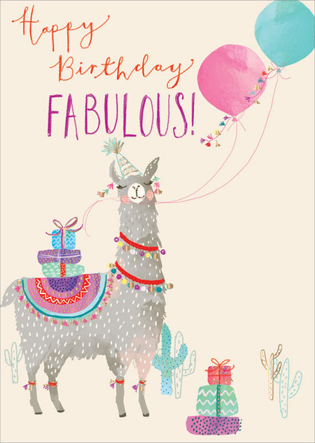 llama fabulous, birthday card
