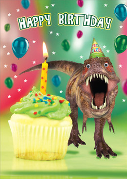 dinosaur t-rex, birthday card