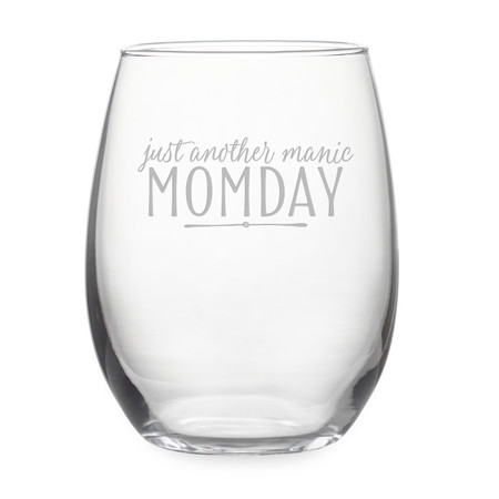 just another manic momday stemless wine glass