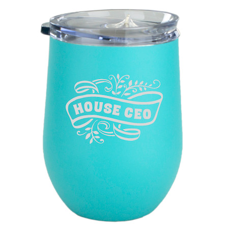 house ceo insulated aqua wine glass