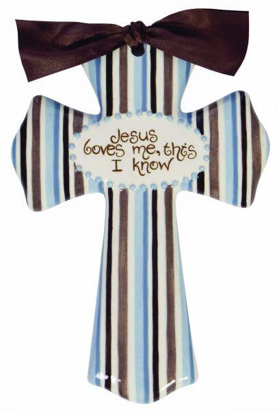 jesus loves me blue medium cross