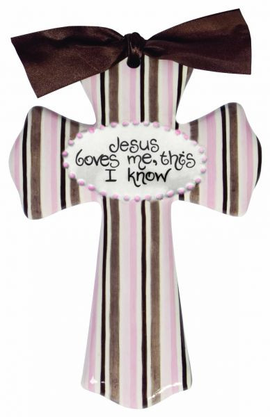 jesus loves me pink stripe cross