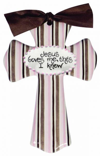 jesus loves me pink stripe cross