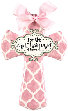 for this child I prayed pink medium cross