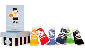 johnny's baby socks, six pairs of bright high-top tennis shoe socks in a gift box, 0-12 months