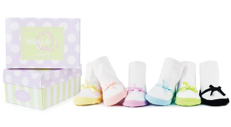 suzie q's pastel baby socks, six pairs of pastel maryjane socks with a bow in a gift box, 0-12 months.