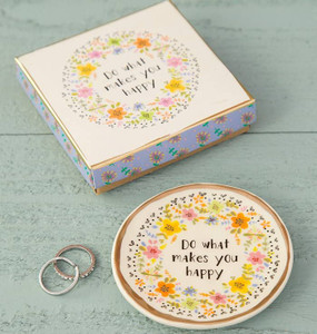 do what makes you happy ceramic trinket dish