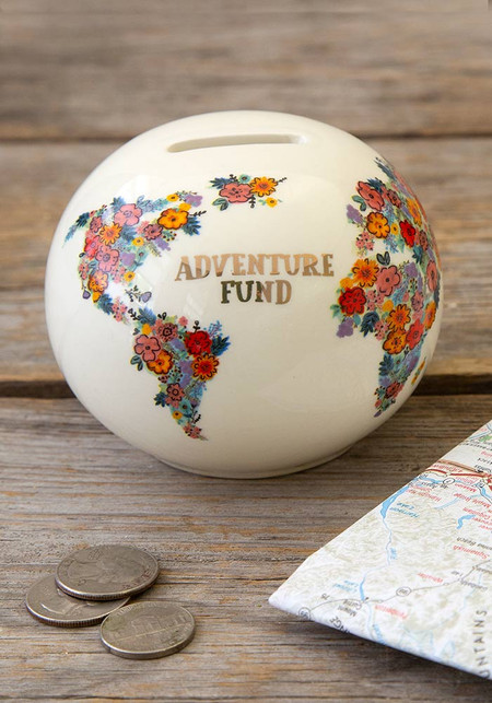adventure fund penny bank, 3.25in H x 4in diameter