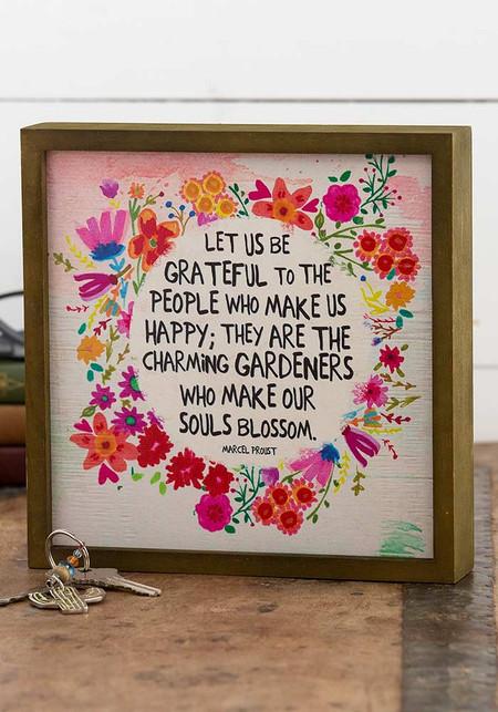 be grateful bungalow art,  8in L x 1.5in W x 8in H