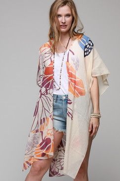 large lily print kimono with side slit