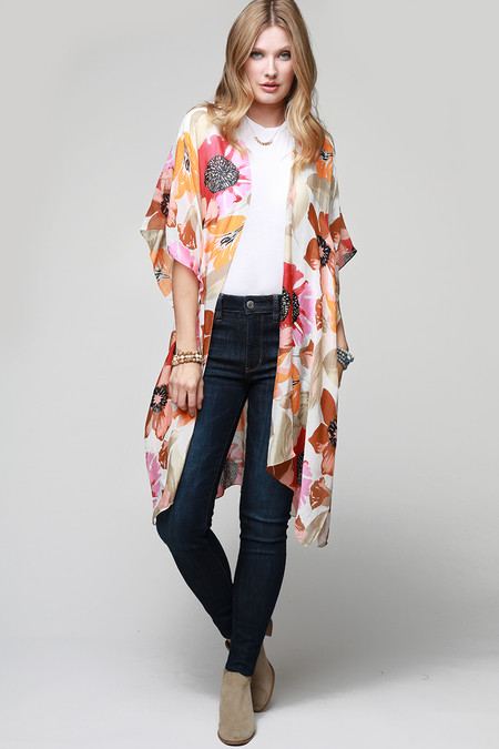 floral print kimono, poppy, tulip, and lily flower large print lightweight with side slit