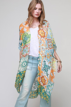 moroccan tile print kimono with side slit