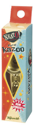 "4¾"" metal kazoos feature a high quality ""childproof"" cap and resonator."
