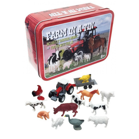 farm in a tin, 12 barnyard animals, including a rooster, a chicken, cows, dogs, a  ram, a lamb, a pig, a horse, a goose and a rabbit