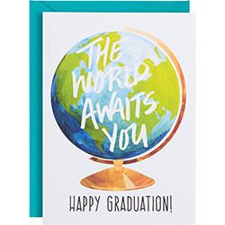 the world awaits you graduation card
