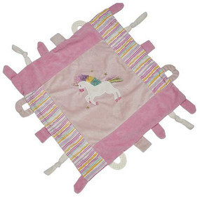 unicorn multi function blankie with teething rings