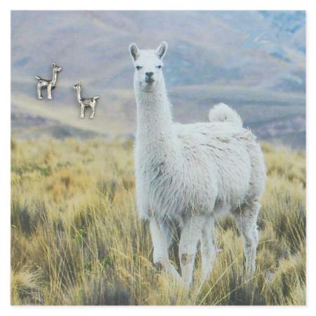 silver llama post earrings, glossy card