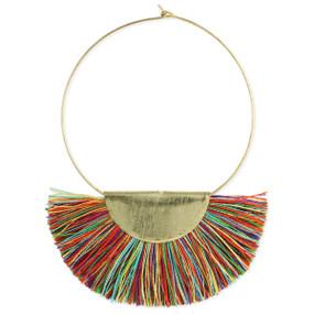 mardi gras fan gold hoop multi fringe earring, lightweight, brushed gold plate finish