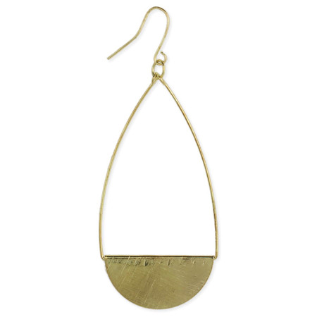 brushed metal teardrop earring, metal finish, handmade in india, gold